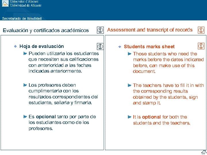 Evaluación y certificados académicos Assessment and transcript of records Hoja de evaluación Pueden utilizarla