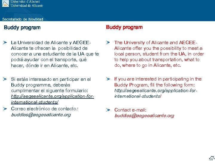 Buddy program La Universidad de Alicante y AEGEEAlicante te ofrecen la posibilidad de conocer