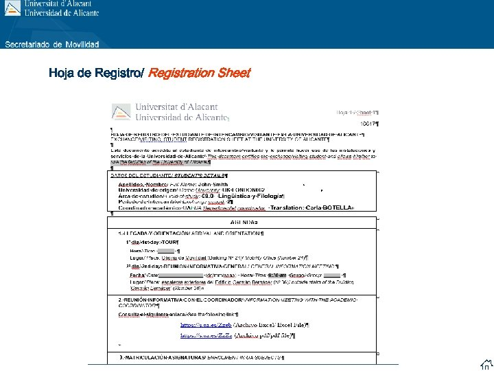 Hoja de Registro/ Registration Sheet
