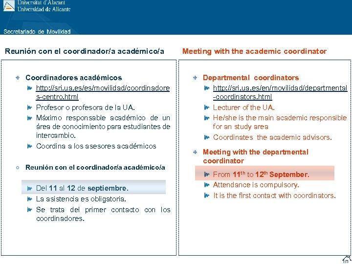 Reunión con el coordinador/a académico/a Coordinadores académicos http: //sri. ua. es/es/movilidad/coordinadore s-centro. html Profesor