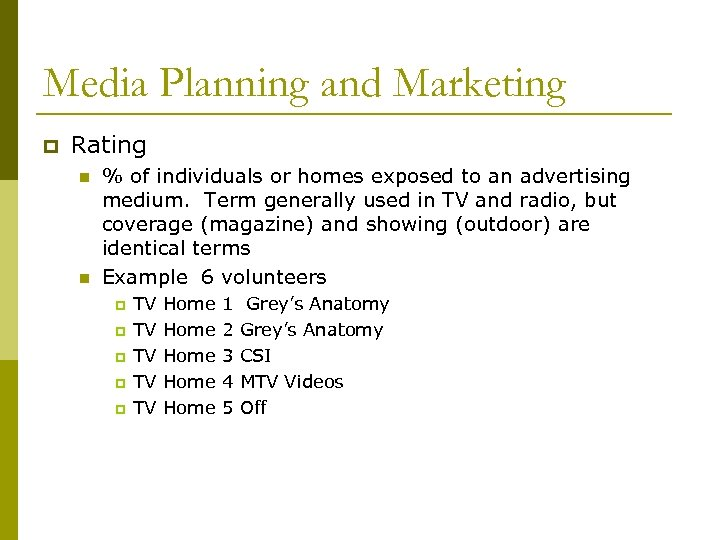 Media Planning and Marketing p Rating n n % of individuals or homes exposed