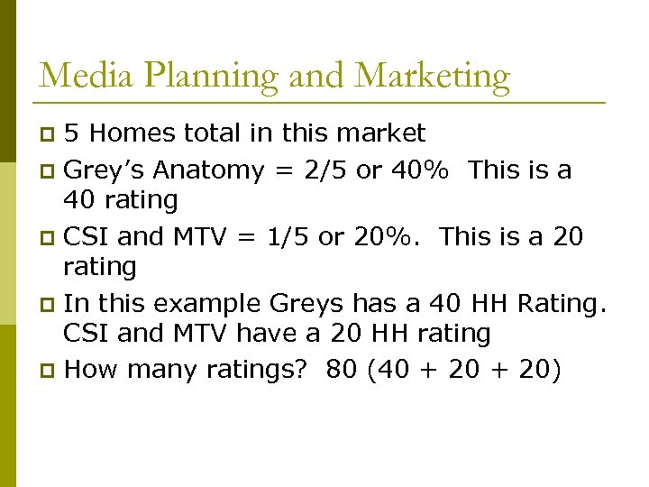 Media Planning and Marketing 5 Homes total in this market p Grey's Anatomy =