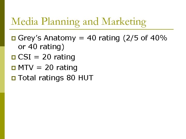 Media Planning and Marketing Grey's Anatomy = 40 rating (2/5 of 40% or 40