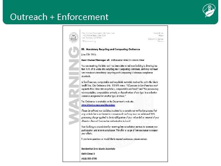 Outreach + Enforcement Text bold, when transparent over photo, white and aligned bottom, left