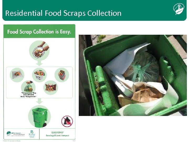 Residential Food Scraps Collection Text bold, when transparent over photo, white and aligned bottom,