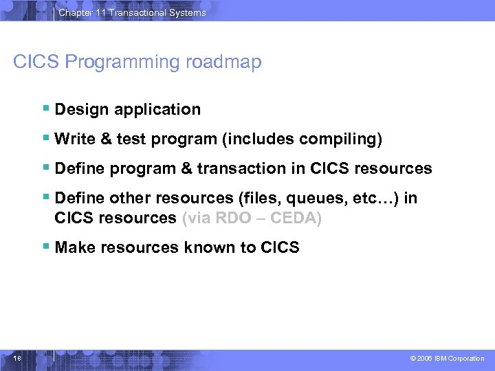 Chapter 11 Transactional Systems CICS Programming roadmap § Design application § Write & test