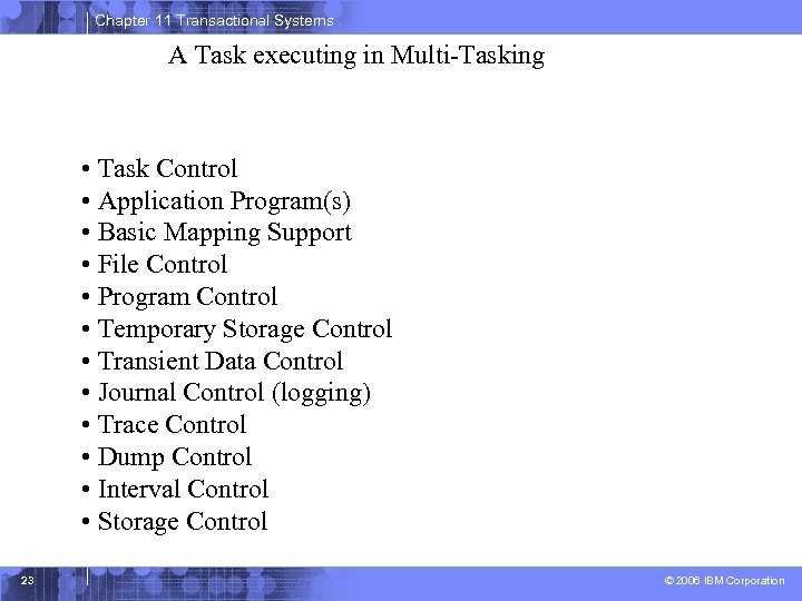 Chapter 11 Transactional Systems A Task executing in Multi-Tasking • Task Control • Application