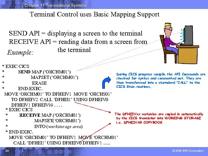 Chapter 11 Transactional Systems Terminal Control uses Basic Mapping Support SEND API = displaying