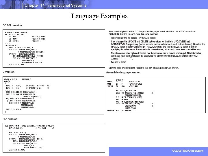 Chapter 11 Transactional Systems Language Examples 38 © 2006 IBM Corporation