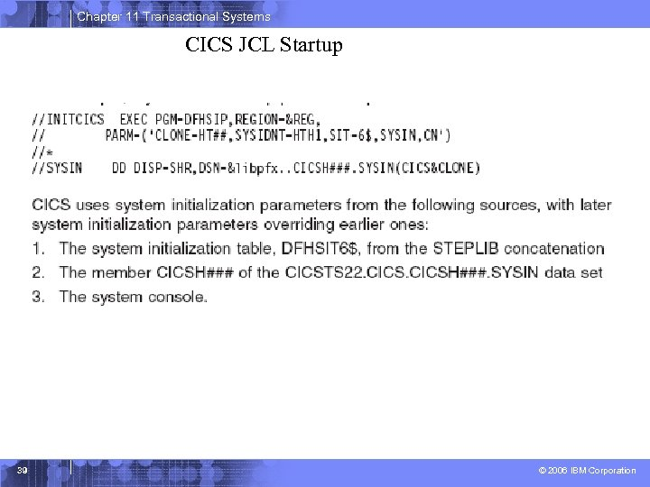 Chapter 11 Transactional Systems CICS JCL Startup 39 © 2006 IBM Corporation
