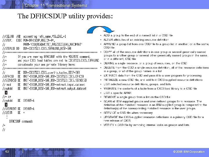 Chapter 11 Transactional Systems The DFHCSDUP utility provides: 53 © 2006 IBM Corporation