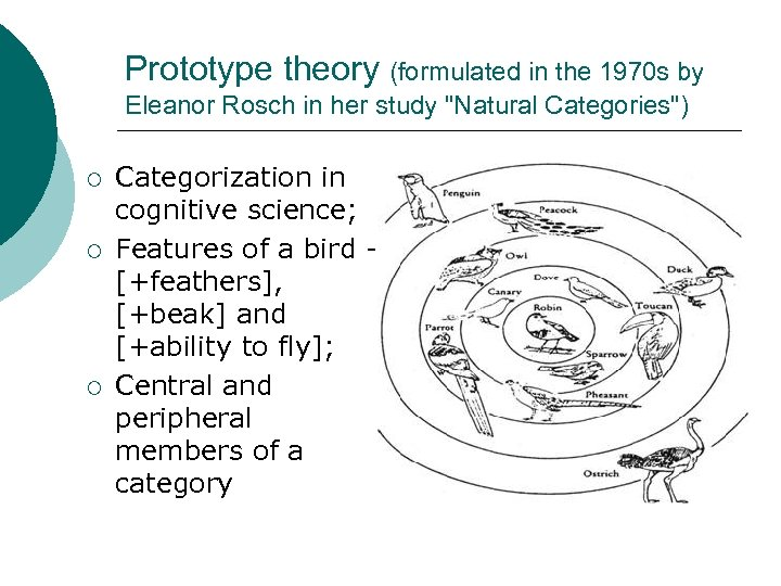 Prototype theory (formulated in the 1970 s by Eleanor Rosch in her study