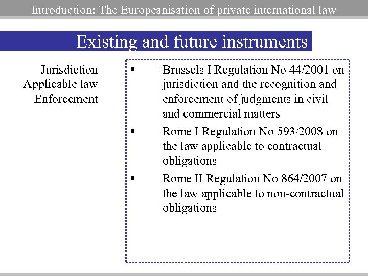 Introduction: The Europeanisation of private international law Existing and future instruments Jurisdiction Applicable law