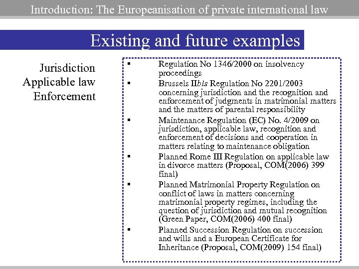 Introduction: The Europeanisation of private international law Existing and future examples Jurisdiction Applicable law