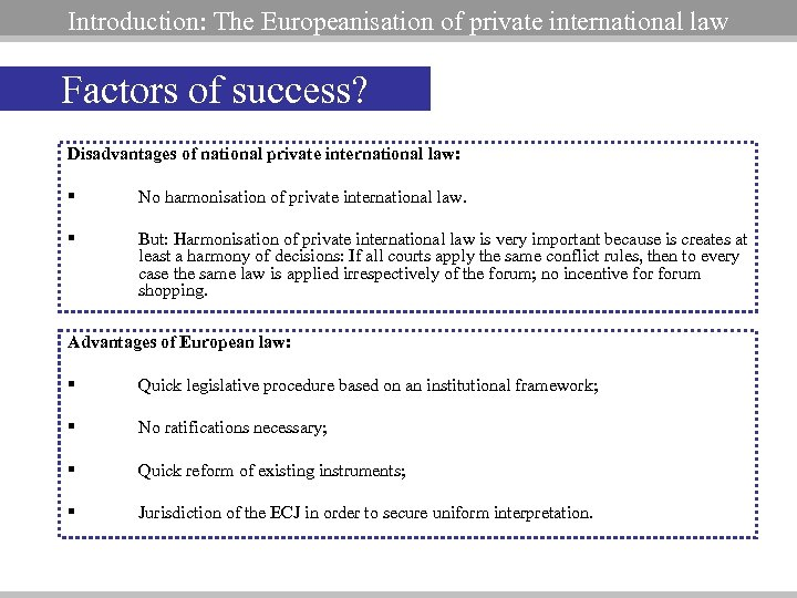 Introduction: The Europeanisation of private international law Factors of success? Disadvantages of national private