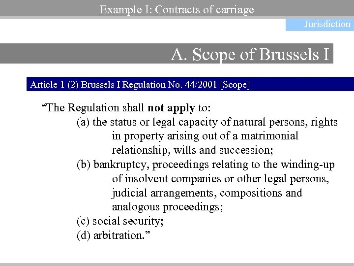 Example I: Contracts of carriage Jurisdiction A. Scope of Brussels I Article 1 (2)