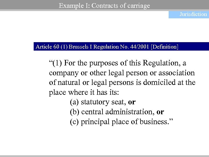 Example I: Contracts of carriage Jurisdiction Article 60 (1) Brussels I Regulation No. 44/2001