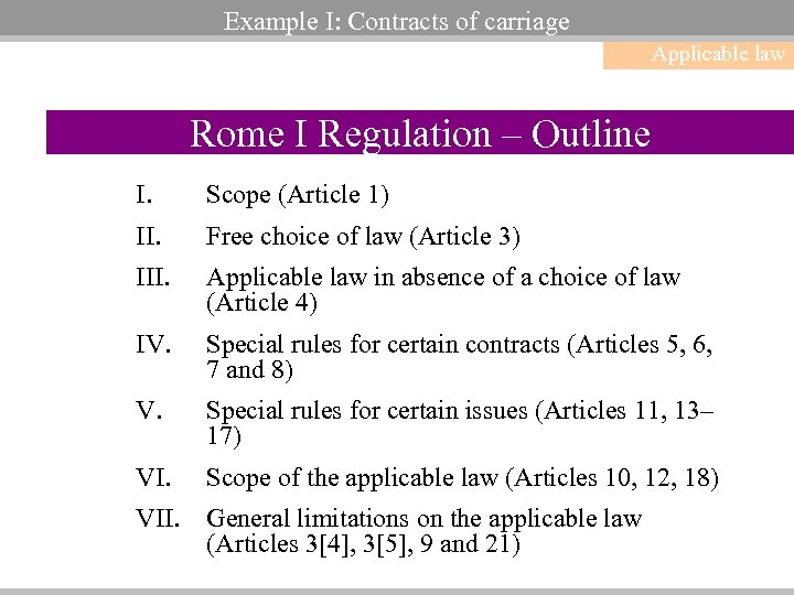 Example I: Contracts of carriage Applicable law Rome I Regulation – Outline I. Scope
