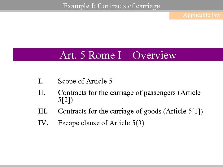 Example I: Contracts of carriage Applicable law Art. 5 Rome I – Overview I.