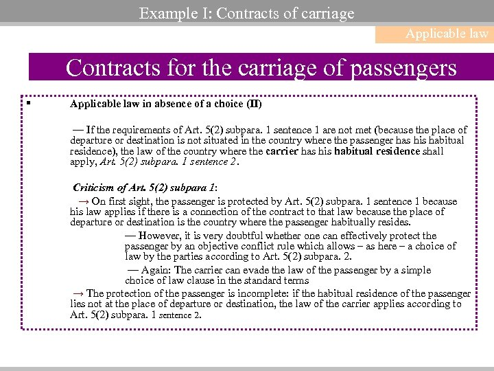 Example I: Contracts of carriage Applicable law Contracts for the carriage of passengers §
