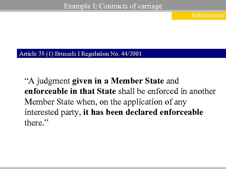 Example I: Contracts of carriage Enforcement Article 38 (1) Brussels I Regulation No. 44/2001