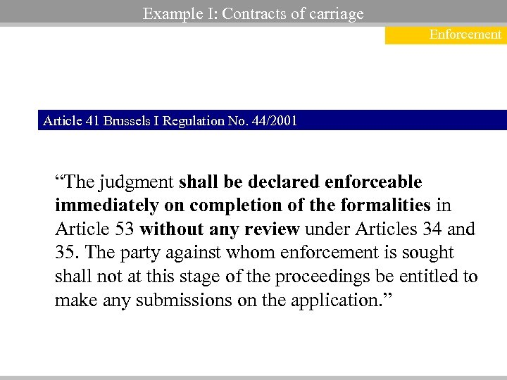 "Example I: Contracts of carriage Enforcement Article 41 Brussels I Regulation No. 44/2001 ""The"