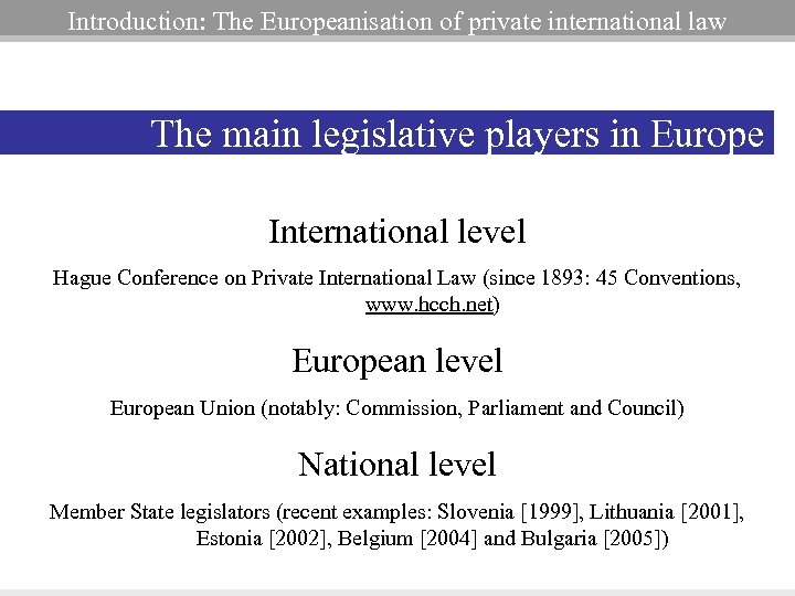 Introduction: The Europeanisation of private international law The main legislative players in Europe International