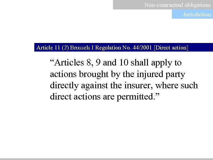 "Non-contractual obligations Jurisdiction Article 11 (2) Brussels I Regulation No. 44/2001 [Direct action] ""Articles"