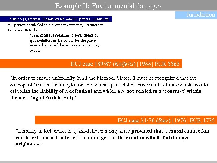 Example II: Environmental damages Jurisdiction Article 5 (3) Brussels I Regulation No. 44/2001 [Special