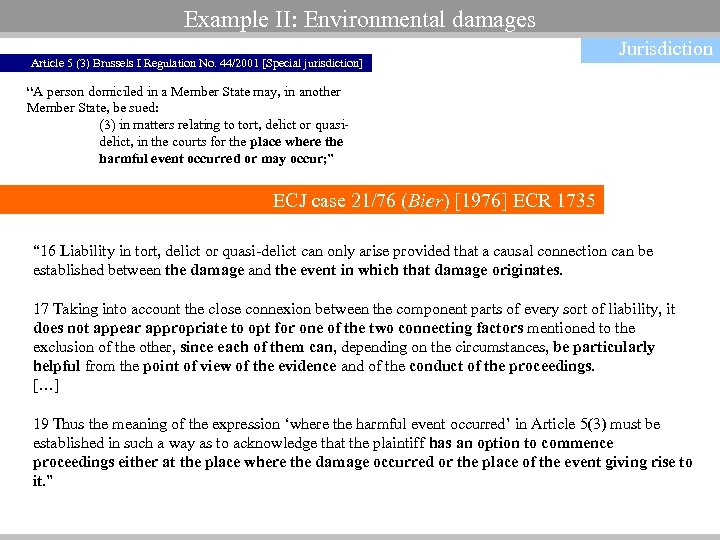 Example II: Environmental damages Article 5 (3) Brussels I Regulation No. 44/2001 [Special jurisdiction]