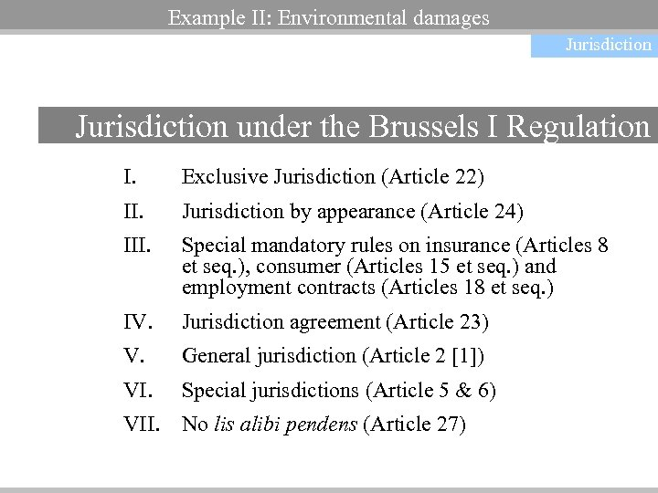 Example II: Environmental damages Jurisdiction under the Brussels I Regulation I. Exclusive Jurisdiction (Article