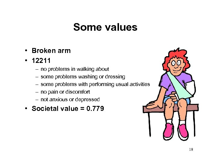 Some values • Broken arm • 12211 – – – no problems in walking