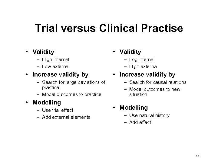 Trial versus Clinical Practise • Validity – High internal – Low external • Increase