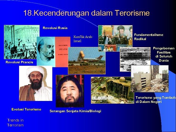 18. Kecenderungan dalam Terorisme Revolusi Rusia Konflik Arab. Israel Fundamentalisme Radikal Pengeboman Fasilitas di