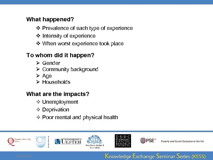 What happened? v Prevalence of each type of experience v Intensity of experience v