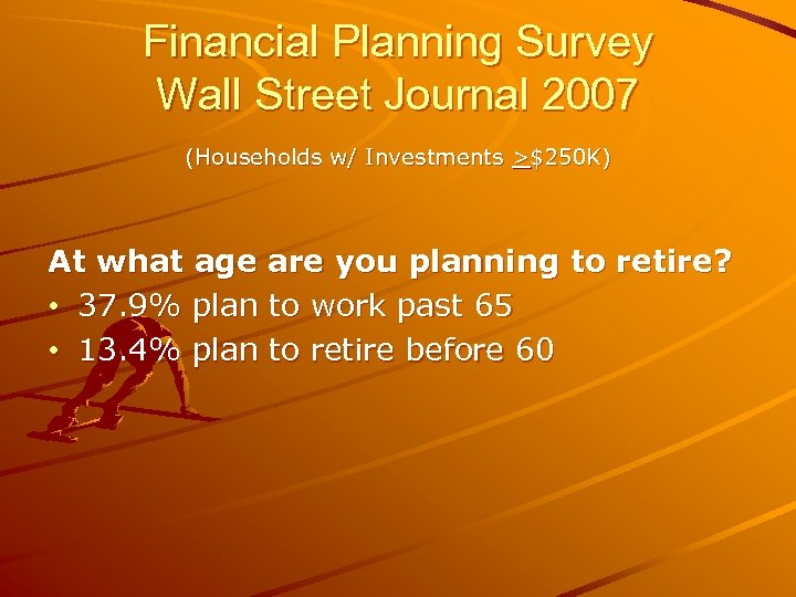 Financial Planning Survey Wall Street Journal 2007 (Households w/ Investments >$250 K) At what