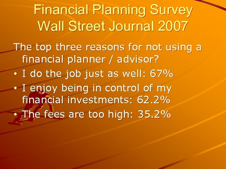 Financial Planning Survey Wall Street Journal 2007 The top three reasons for not using