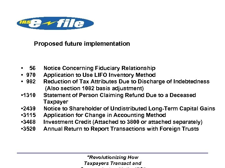 Proposed future implementation • 56 • 970 • 982 • 1310 • 2439 •