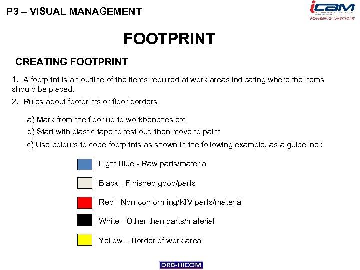 P 3 – VISUAL MANAGEMENT FOOTPRINT CREATING FOOTPRINT 1. A footprint is an outline