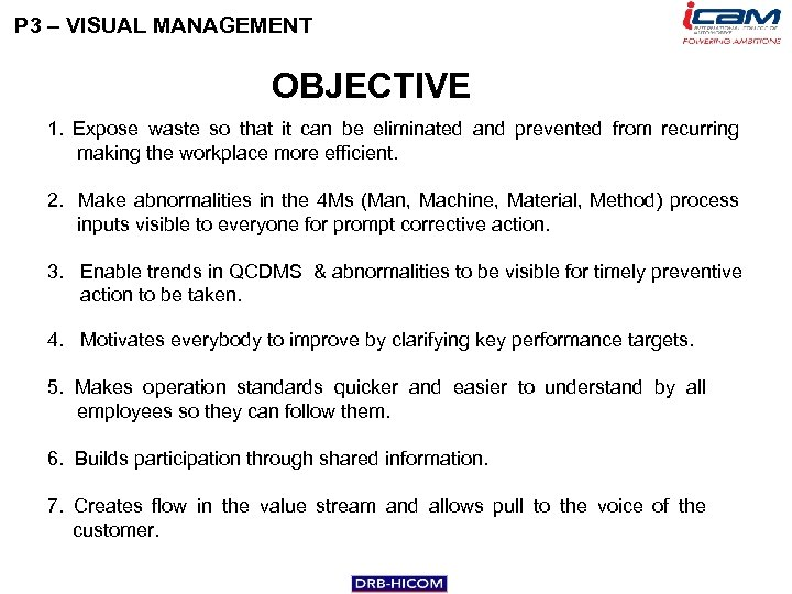 P 3 – VISUAL MANAGEMENT OBJECTIVE 1. Expose waste so that it can be