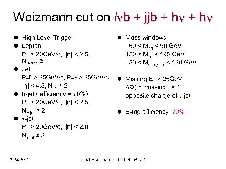 Weizmann cut on l b + jjb + h l High Level Trigger l