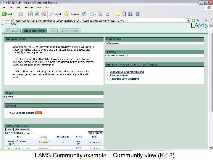 LAMS Community example – Community view (K-12)