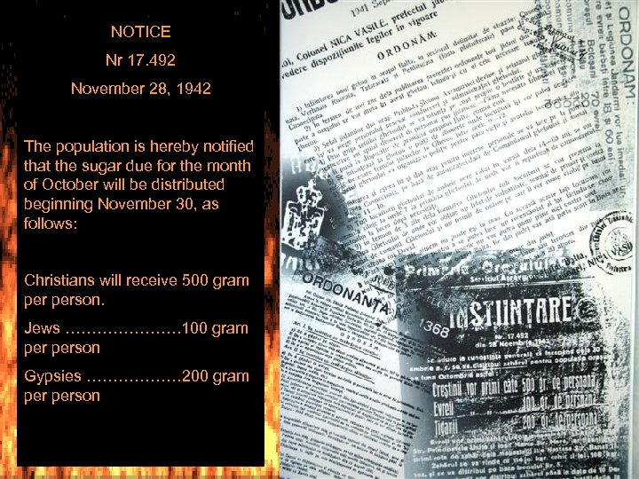 NOTICE Nr 17. 492 November 28, 1942 The population is hereby notified that the