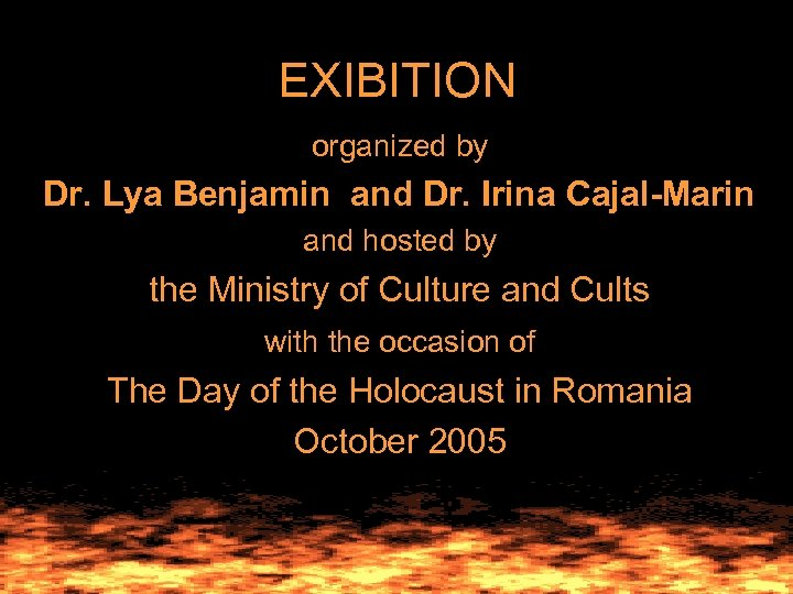 EXIBITION organized by Dr. Lya Benjamin and Dr. Irina Cajal-Marin and hosted by the