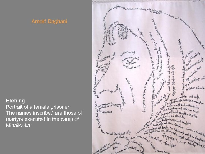Arnold Daghani Etching Portrait of a female prisoner. The names inscribed are those of