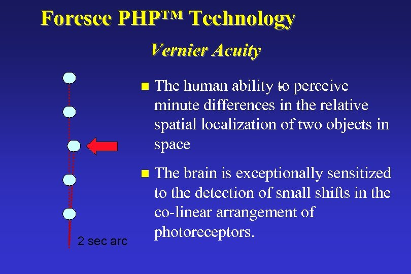 Foresee PHP™ Technology Vernier Acuity n n 2 sec arc The human ability to