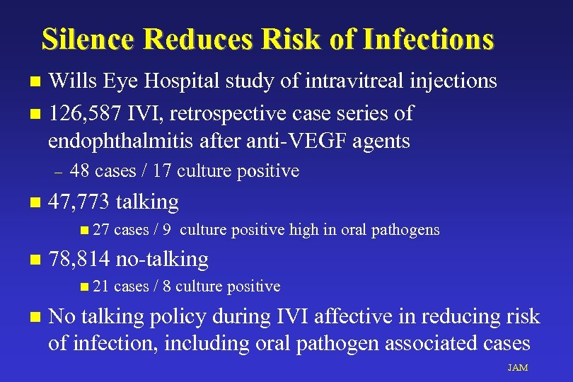Silence Reduces Risk of Infections Wills Eye Hospital study of intravitreal injections n 126,