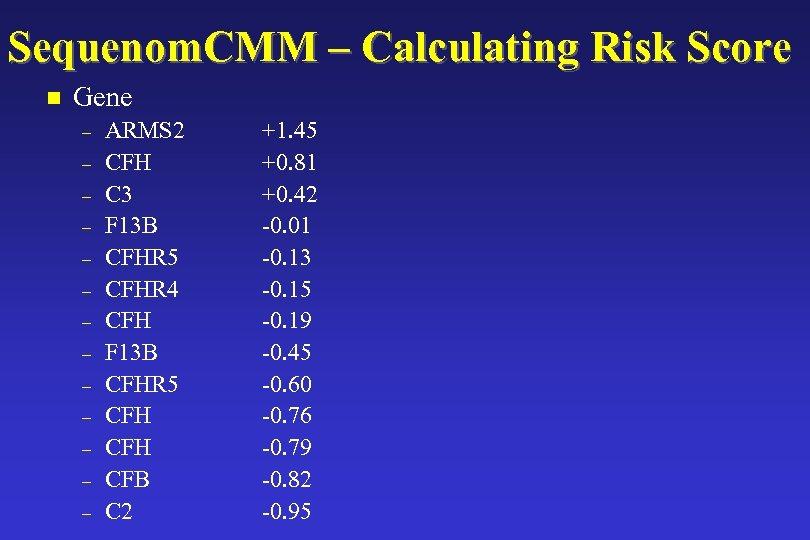 Sequenom. CMM – Calculating Risk Score n Gene – – – – ARMS 2