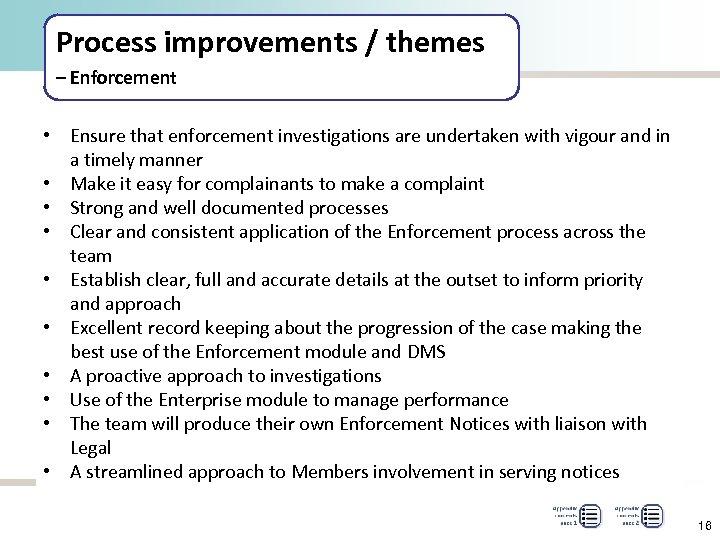Process improvements / themes – Enforcement • Ensure that enforcement investigations are undertaken with
