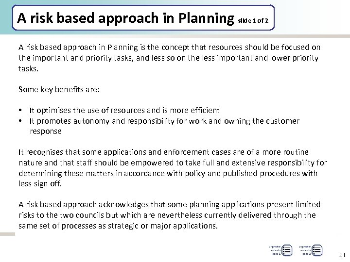 A risk based approach in Planning slide 1 of 2 A risk based approach
